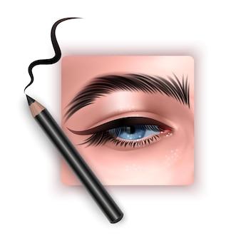 アイライナーを適用する目のリアルなイラストクローズアップ女性はアイライナーを適用します