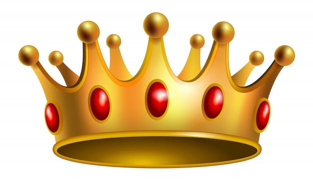 Реалистичная иллюстрация золотой короны с красными драгоценными камнями. ювелирные изделия, награды, роялти.