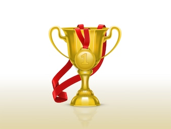 Realistic illustration of golden goblet and medal with red ribbon isolated on background.