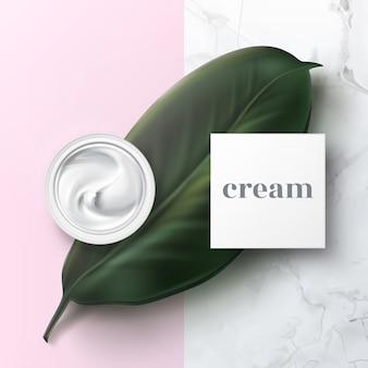 Реалистичная иллюстрация полуоткрытой косметической баночки с гигиеническим кремом