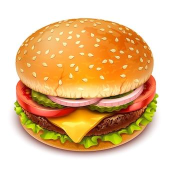 白い背景の上のハンバーガーのリアルなイラスト