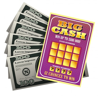 Realistic illustration of lottery ticket and bundle of money. Big cash, winning number