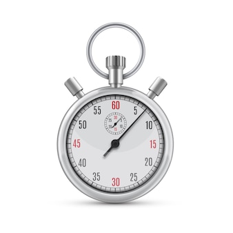 Реалистичные иллюстрации металлический хром механический аналоговый секундомер на белом фоне. символ скорости или спортивных достижений. спортивное оборудование