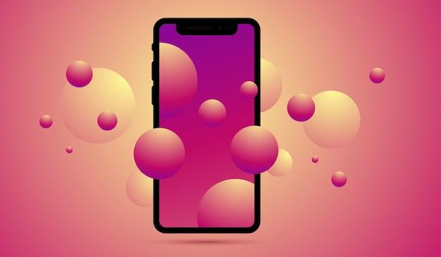 新しい携帯電話の前面のリアルなイラスト