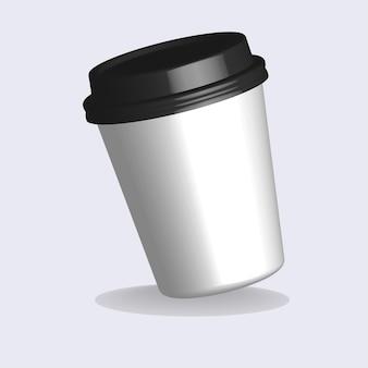 プラスチック製のコーヒーカップのリアルなイラスト