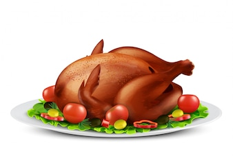 Realistic illustration of roasted turkey or grilled chicken with spices and vegetables