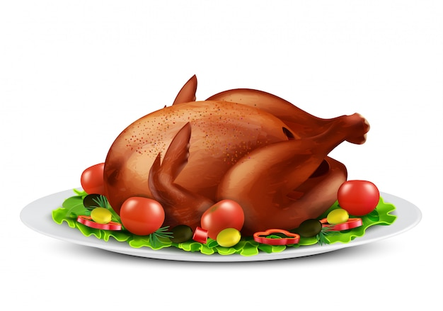 Реалистичная иллюстрация жареной индейки или цыпленка-гриль со специями и овощами
