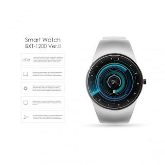 Реалистичная иллюстрация умных часов, технологических функций и текста шаблона. умные часы иллюстрации.