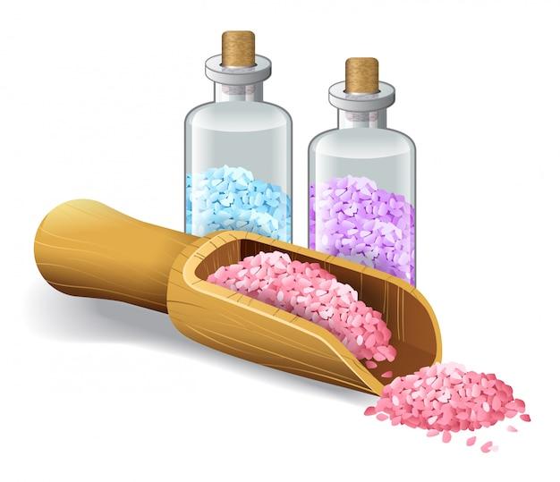 スパ塩の現実的なイラスト。サロン、バス、海、ボトル、スクープ。ボディケアのコンセプト。
