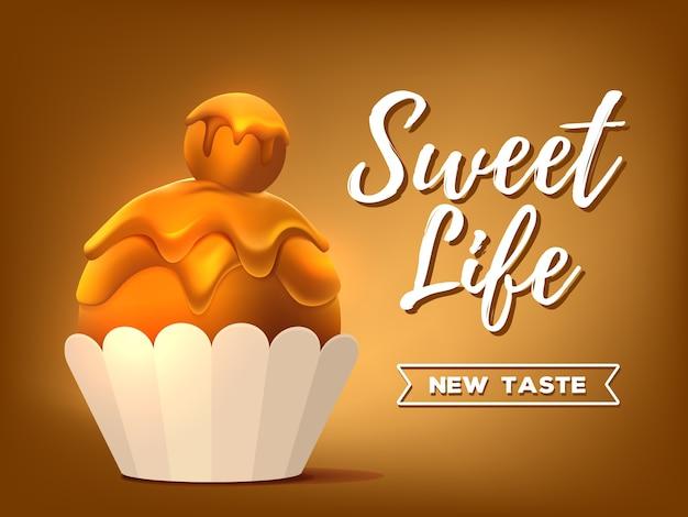 甘い茶色のカップケーキのリアルなイラスト