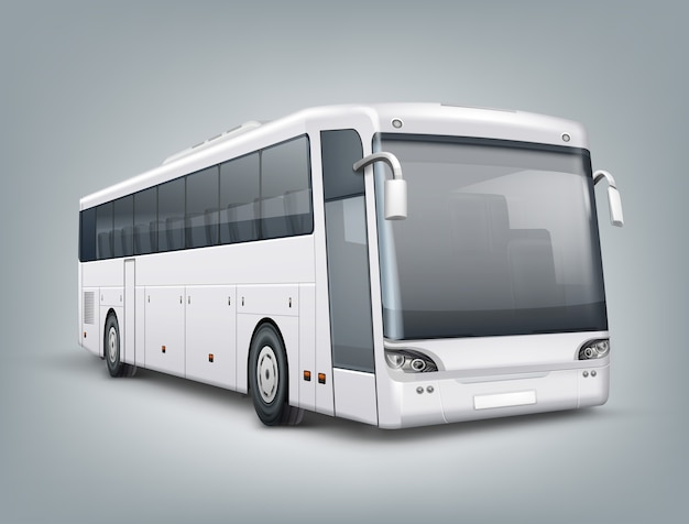 Realistic illustration. one passenger bus in perspective view, isolated on gray background