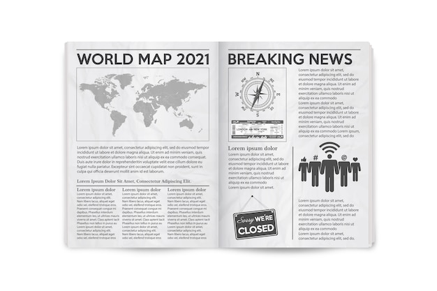 Realistic illustration of the page spread newspaper layout