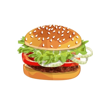 Realistic illustration pattern of burger, delicious hamburger with ingredients lettuce, onion, patty, tomato, cheese, bun isolated on white background