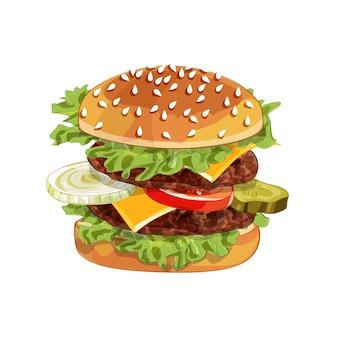 햄버거의 현실적인 그림 패턴, 재료 양상추, 양파, 패티, 토마토, 치즈, 흰색 배경에 고립 된 롤빵 맛있는 햄버거