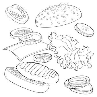 햄버거 점프의 현실적인 그림 패턴, 재료 양상추, 양파, 패티, 토마토, 치즈, 흰색 배경에 고립 된 롤빵 맛있는 폭발 햄버거
