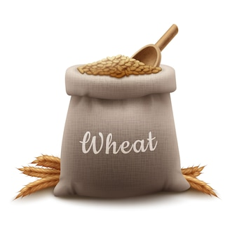 Realistic illustration sack of wheat grain with shovel and cereals spikelets