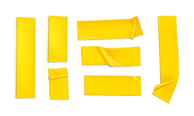 노란색 테이프의 현실적인 그림 세트