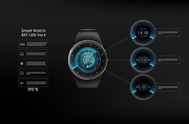 Realistic illustration of smart watch, technology functions and template text. smart illustration.