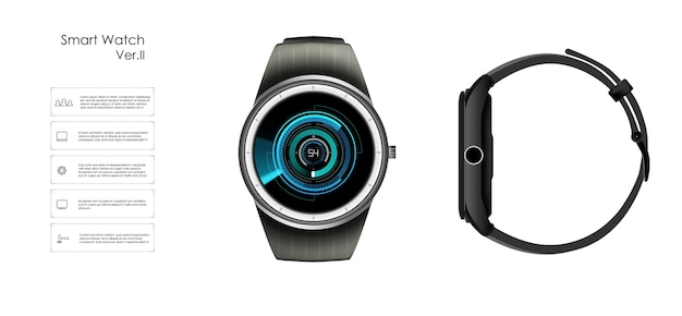 Realistic illustration of smart watch, technology functions and template text.