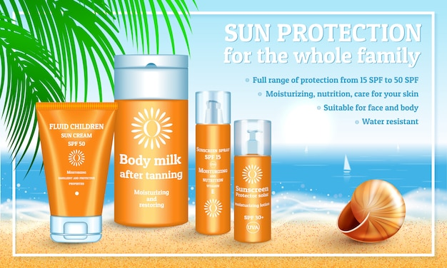 Realistic illustration of sunscreen packaging