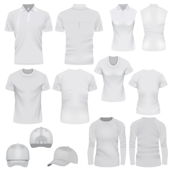 Realistic illustration of t-shirt cap mockups for web