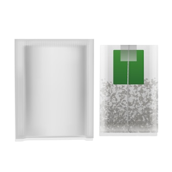 Realistic illustration of tea bag with green label isolated  .