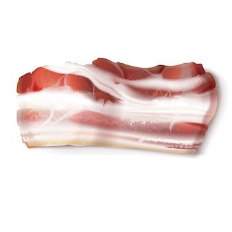 Realistic illustration of thin bacon strip, rasher, fresh, raw or smoked