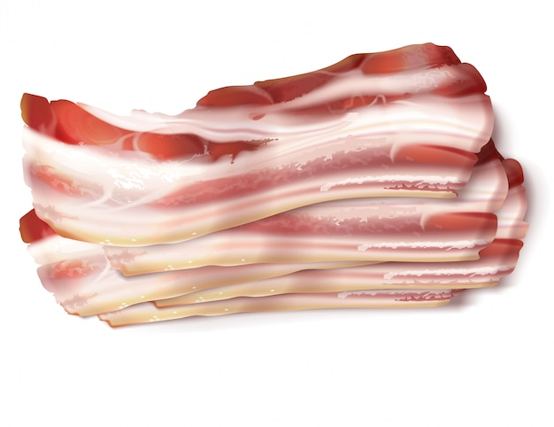 Realistic illustration of thin bacon strips, rashers, fresh, raw or smoked