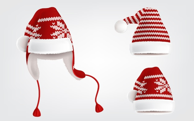 Realistic illustration of three knitted santa hats with decorative pattern