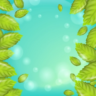 Realistic illustration vertical mint leaves 3d