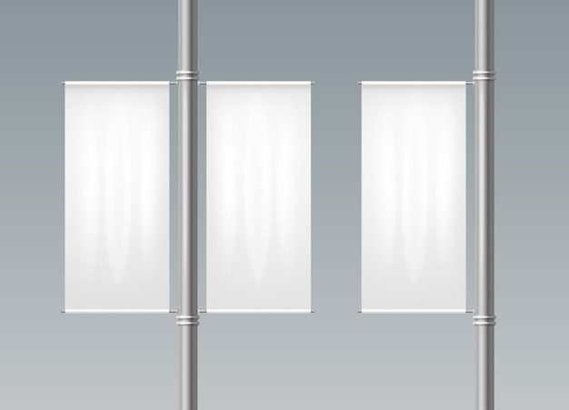 Realistic illustration of white banners on a pillars single and on both sides.
