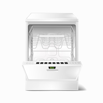 Realistic illustration of white empty dishwasher with open door, with two metal racks inside