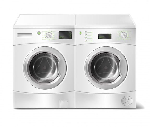 Realistic illustration of white front-load washer and dryer, empty inside