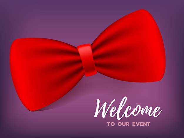 Realistic   illustration with elegant red color bow tie with shadow and text. traditional fashion suit or costume element. 3d design of classic bowtie for event, party invitation, card