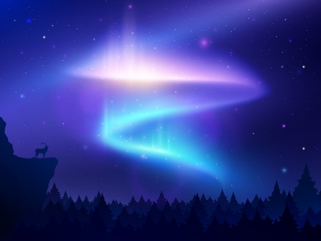 Realistic illustration with northern lights in night sky over forest and mountain
