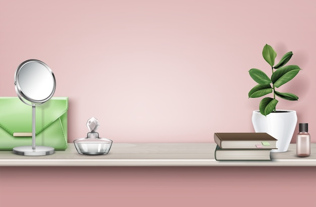 Realistic illustration of wooden shelf with books