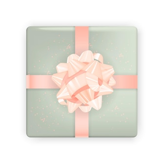 Realistic image. colorful festive box with bow.