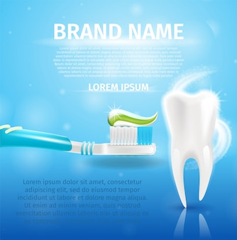 Realistic image healthy tooth and toothpaste in 3d