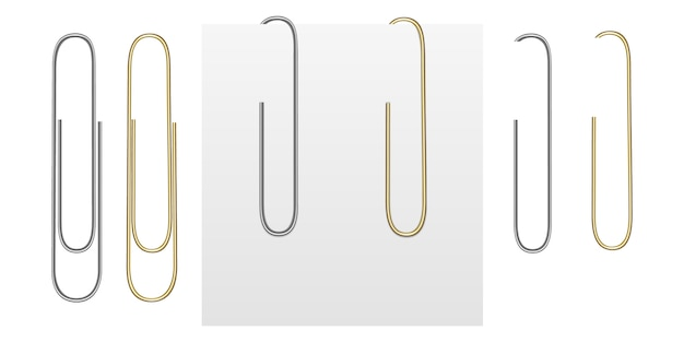 Realistic images of gold and silver paper clips.