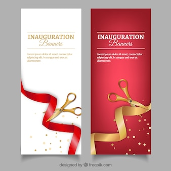 Realistic inauguration banners with golden scissors
