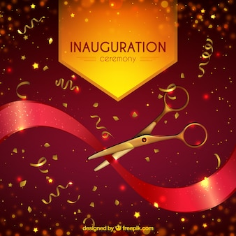 Realistic inauguration with golden confetti