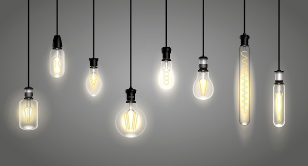 Realistic incandescent lamps or hang bulb wire light or soft glowing filament vintage lamp