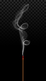 Realistic incense stick aroma with smoke.