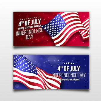 Realistic independence day of america banner