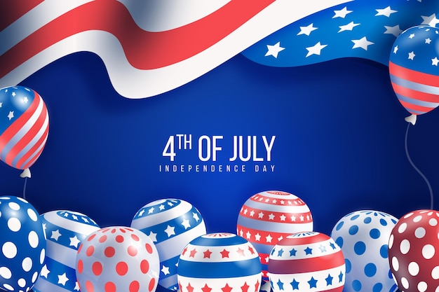 Realistic independence day balloons background