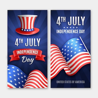 Realistic independence day banners with flag and hat