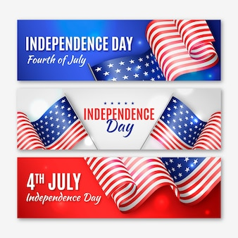 Realistic independence day banners with flags