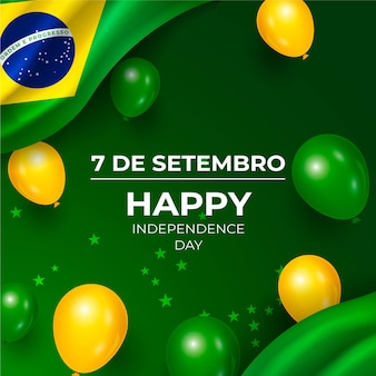 Realistic independence day of brazil background with balloons