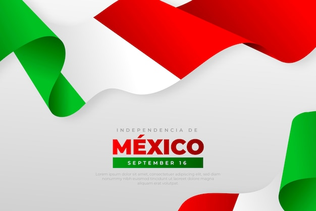 Realistic independence day of mexico background with flags