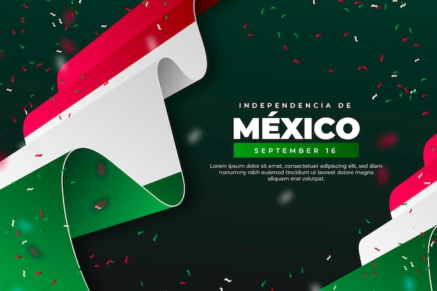 Realistic independence day of mexico wallpaper with flags